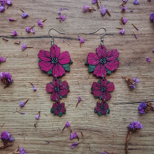 Bloom, burgundy -earrings